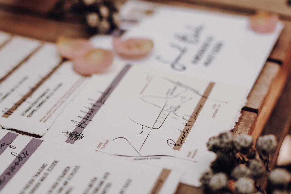 Anfahrtsplan Hochzeitseinladung