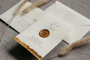 Hochzeitseinladung mit Gold